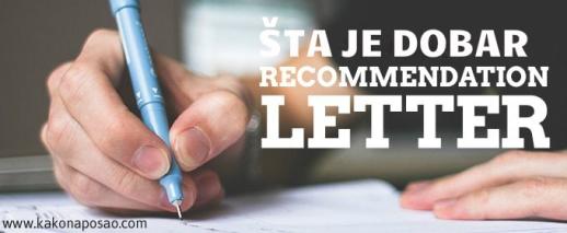 recommendation letter - pismo preporuke - kako na posao